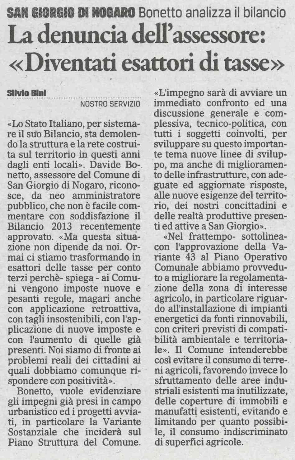 Rassegna stampa del 05.09.2013 Il Gazzettino