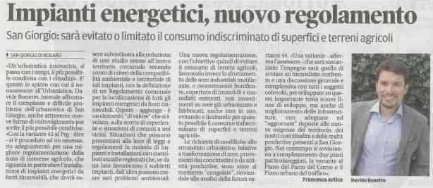 Rassegna stampa del 19.09.2013 Messaggero Veneto