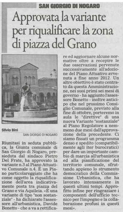 Rassegna stampa del 17.10.2013 Il Gazzettino
