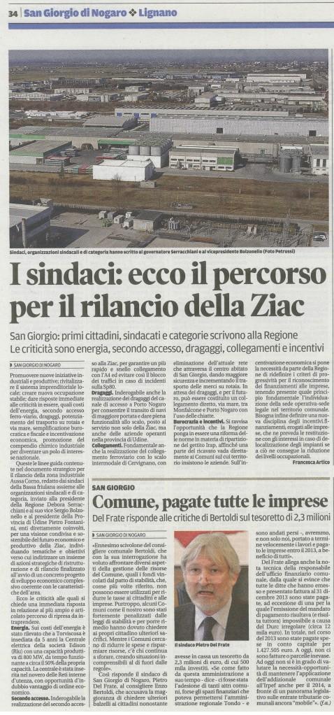 Rassegna stampa del 31.01.2014 Messaggero Veneto