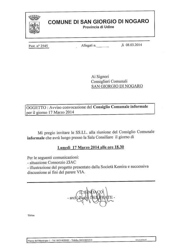 Consiglio Comunale informale 17.03.2014