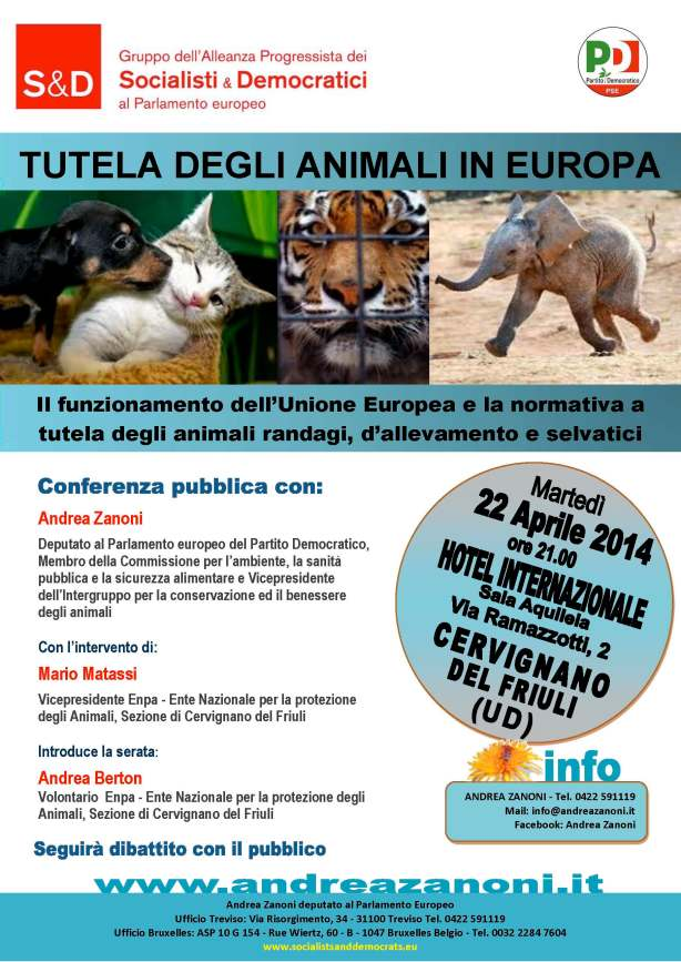 Tutela degli Animali in Europa - Cervignano UD 22-04-2014