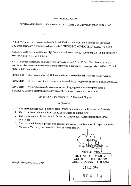 ODG Sindaco Unione 04.08.2014