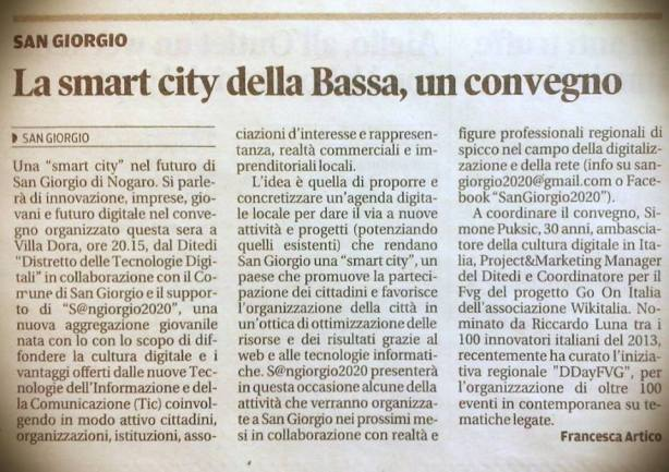Messaggero Veneto del 29.10.2014
